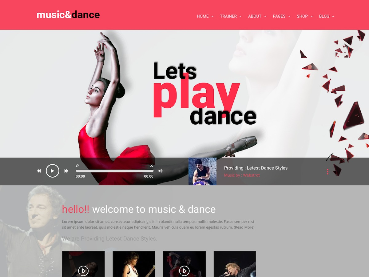 Music & Dance WordPress news template