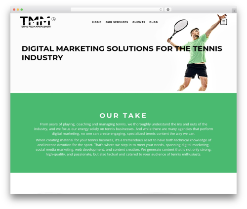 TopFit company WordPress theme - tennismediamanagement.com