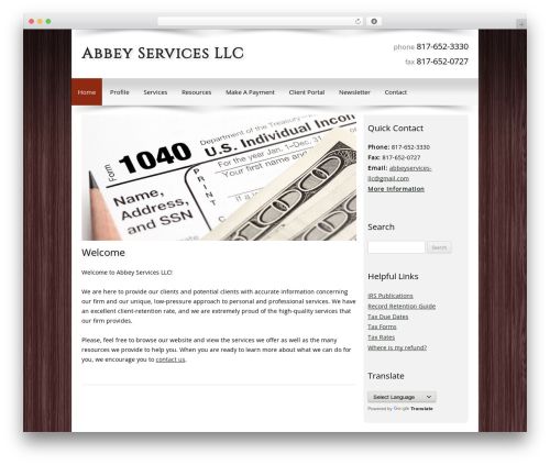 Customized WordPress website template - abbeyservicesllc.com