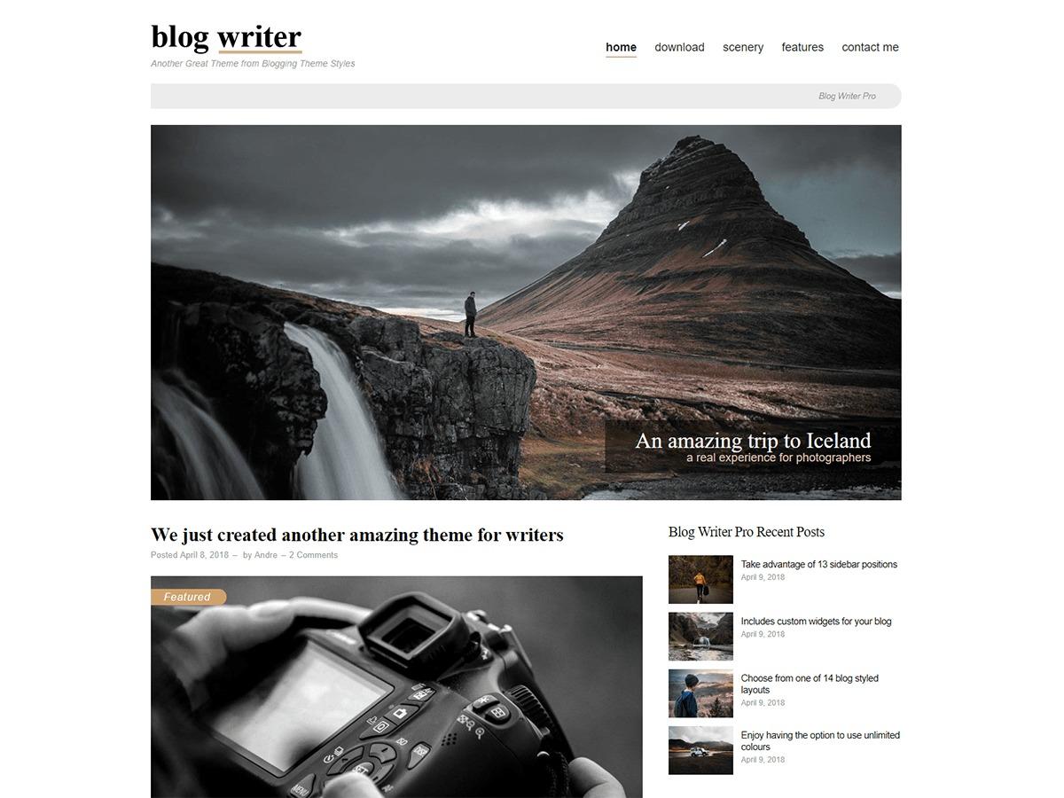 Blog Writer Pro WordPress blog template