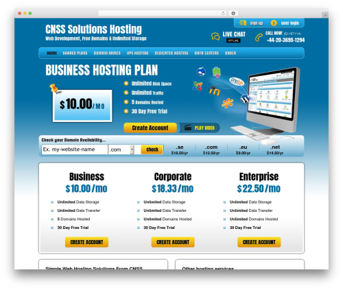PHP Hosting best WordPress template - cnss-solutions.com