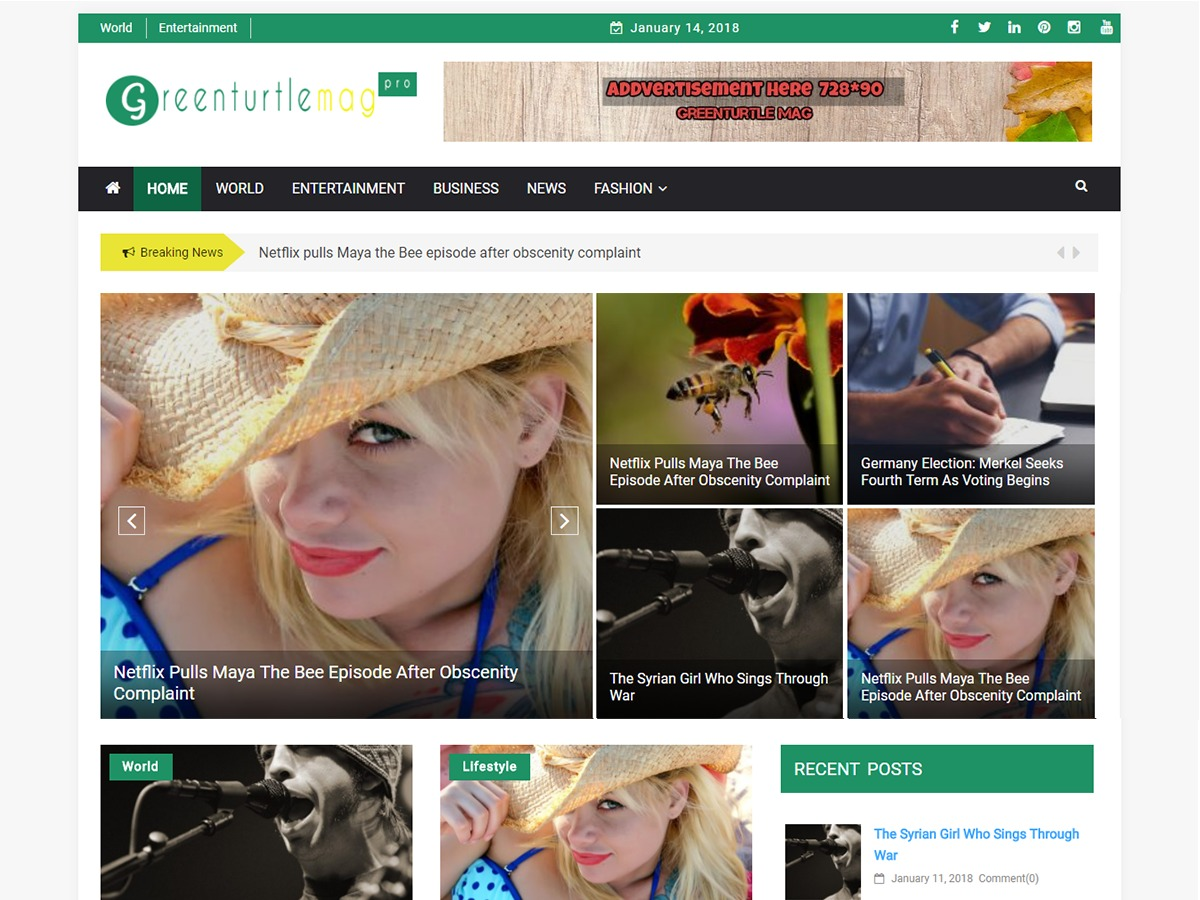 Greenturtle Mag WordPress blog template