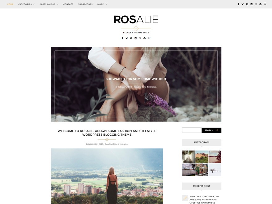 Rosalie WordPress blog template