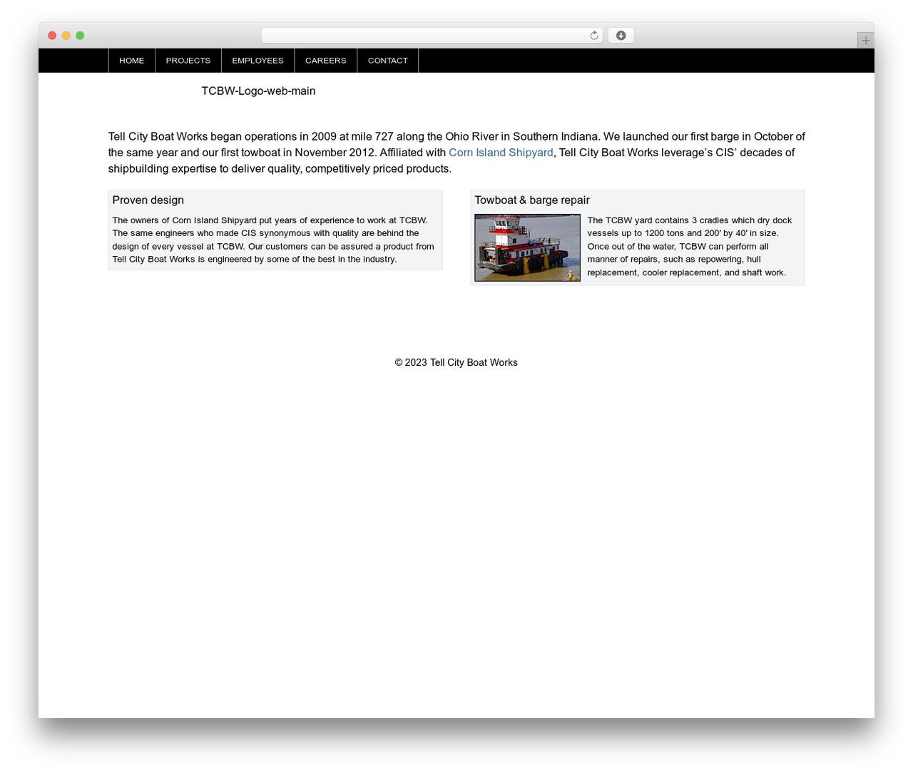 WP-Brilliance WordPress page template - tellcityboatworks.com
