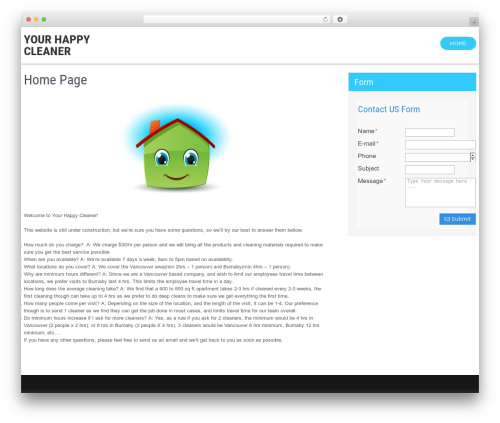 Clean Lite free WordPress theme - yourhappycleaner.com