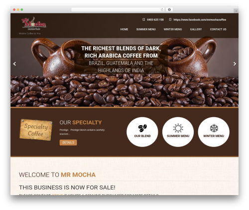 Coffee Pro premium WordPress theme - mrmochacoffee.com