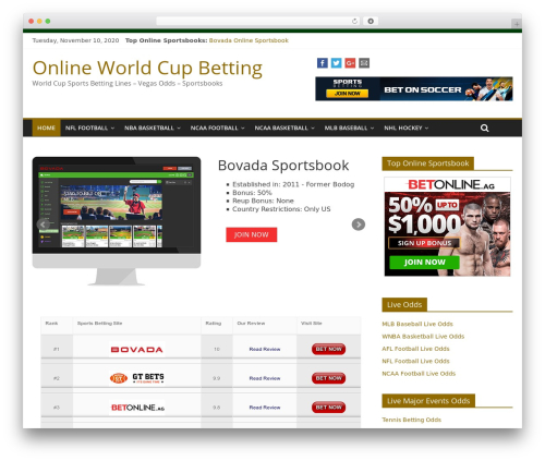 ColorMag free WP theme - onlineworldcupbetting.com