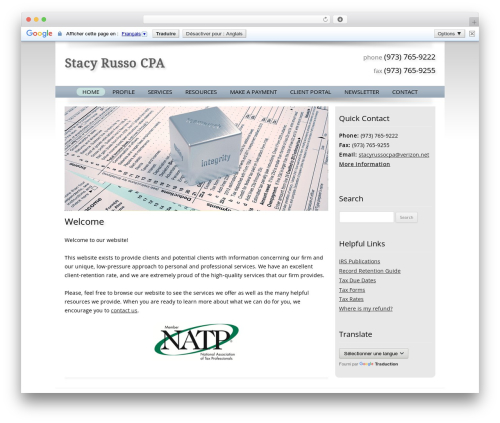 Customized WordPress template - stacyrussocpa.com