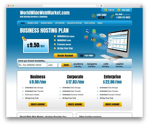 Best WordPress template PHP Hosting - worldwidewebmarket.com
