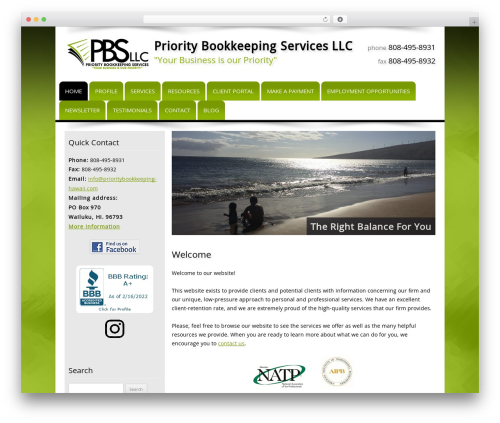 Customized WordPress template for business - prioritybookkeepinghawaii.com
