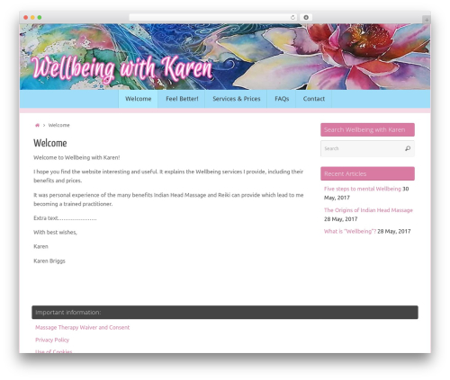 Tempera free WordPress theme - wellbeingwithkaren.com