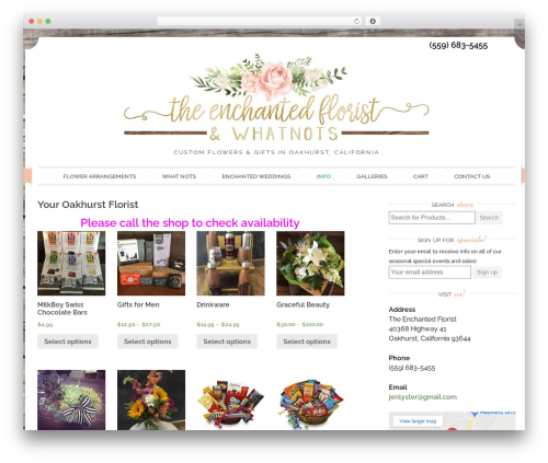 Sugar and Spice WordPress theme - theenchantedfloristandwhatnots.com