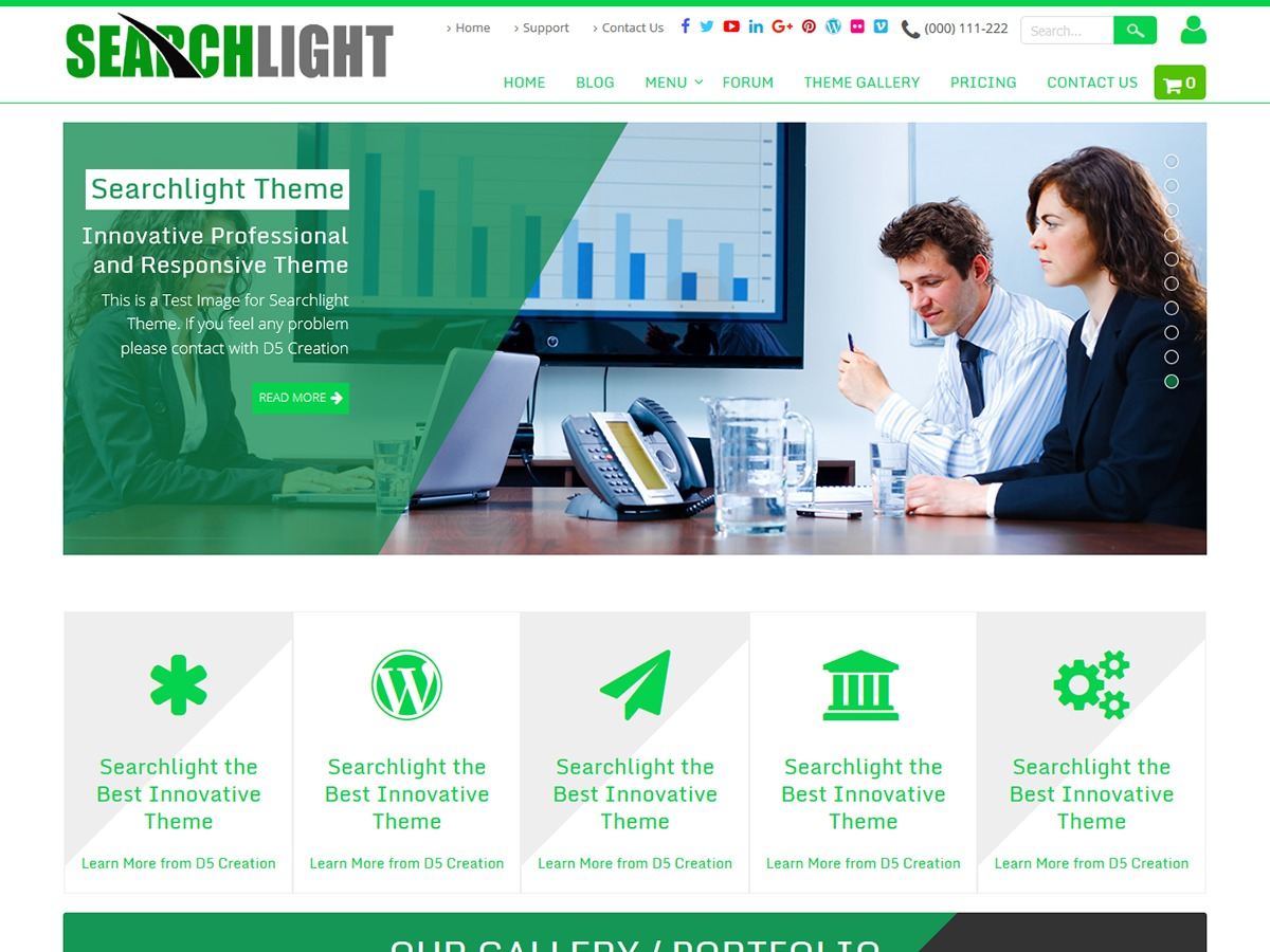 Best WordPress template Searchlight Extend