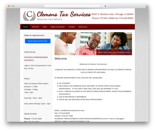 Customized theme WordPress - clemonstaxservice.com