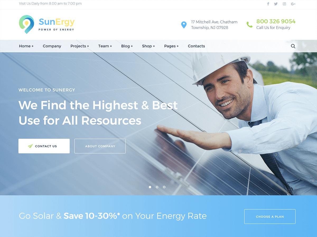 Sunergy WordPress website template