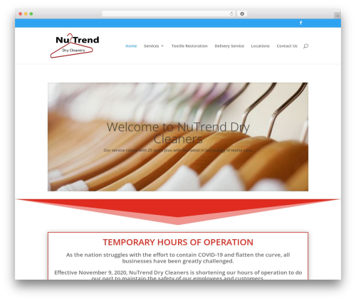 Divi WordPress theme - nutrenddrycleaners.com