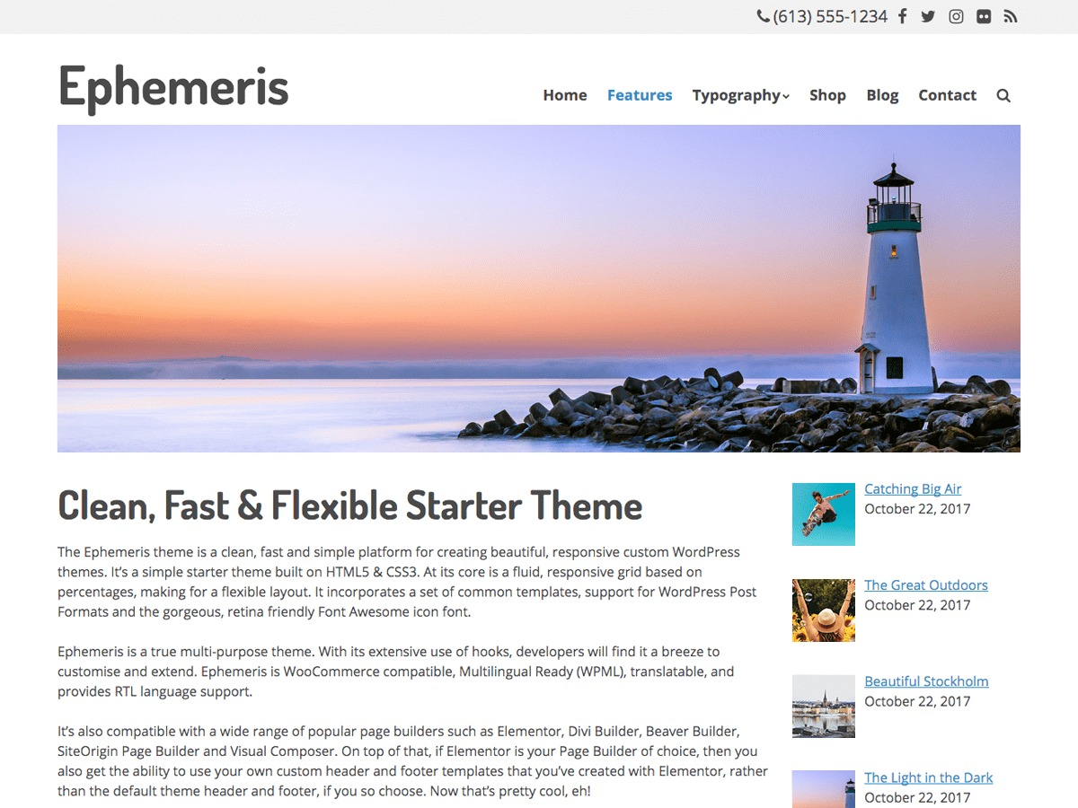 Ephemeris WordPress ecommerce template
