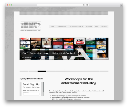 Eventure premium WordPress theme - theindustryworkshops.com