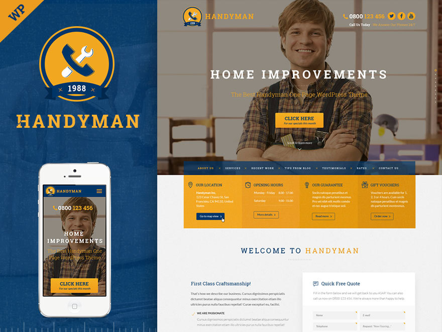 Handyman - Craftsman Business WordPress Theme WordPress template for business