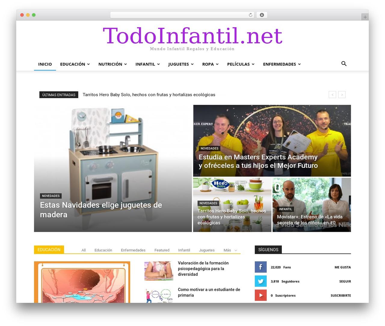 Newspaper WordPress news theme - todoinfantil.net