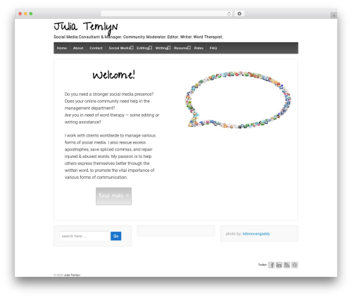Responsive free WP theme - temlynwriting.com