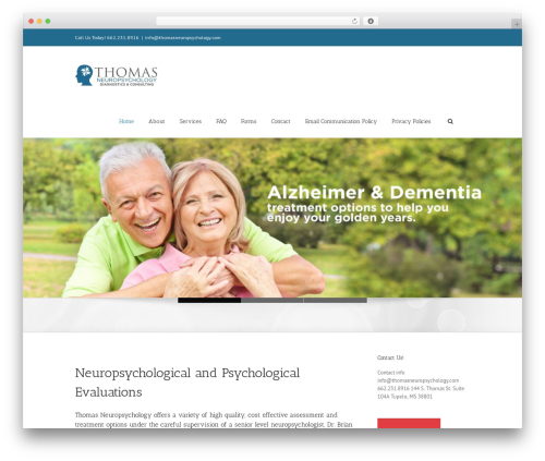 WordPress theme Avada - thomasneuropsychology.com