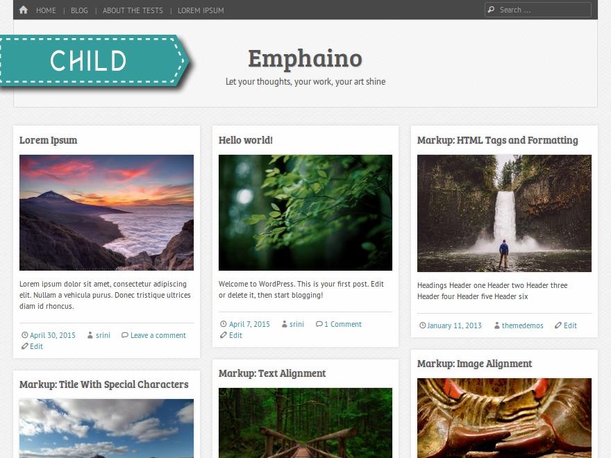 WordPress theme Emphaino Child