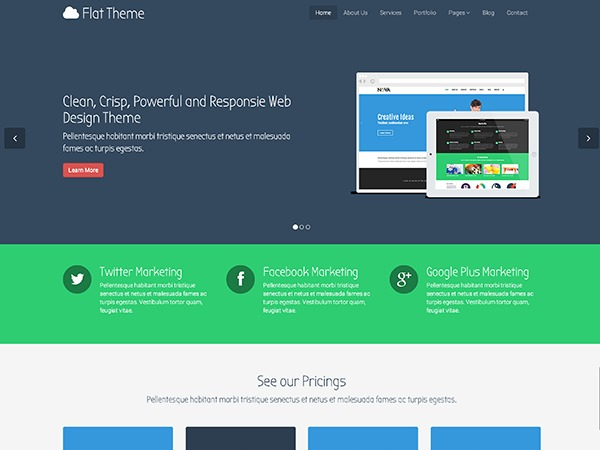 WordPress website template Flat Theme Child