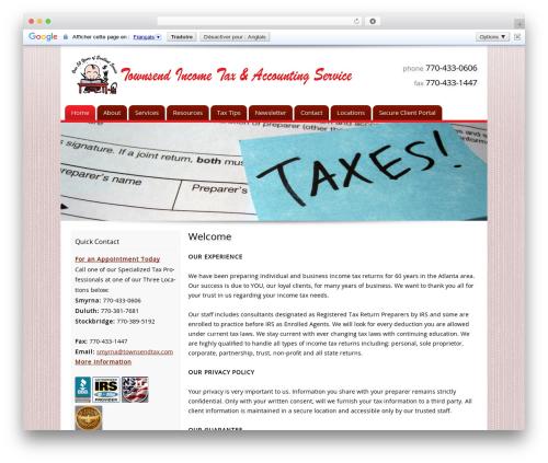 Customized business WordPress theme - townsendtax.com