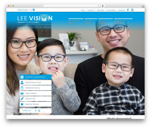 BigBang WordPress theme design - leevisionfamilyeyeclinic.com