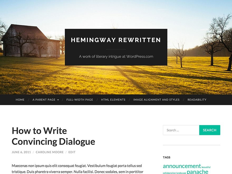 Hemingway Rewritten WordPress blog theme