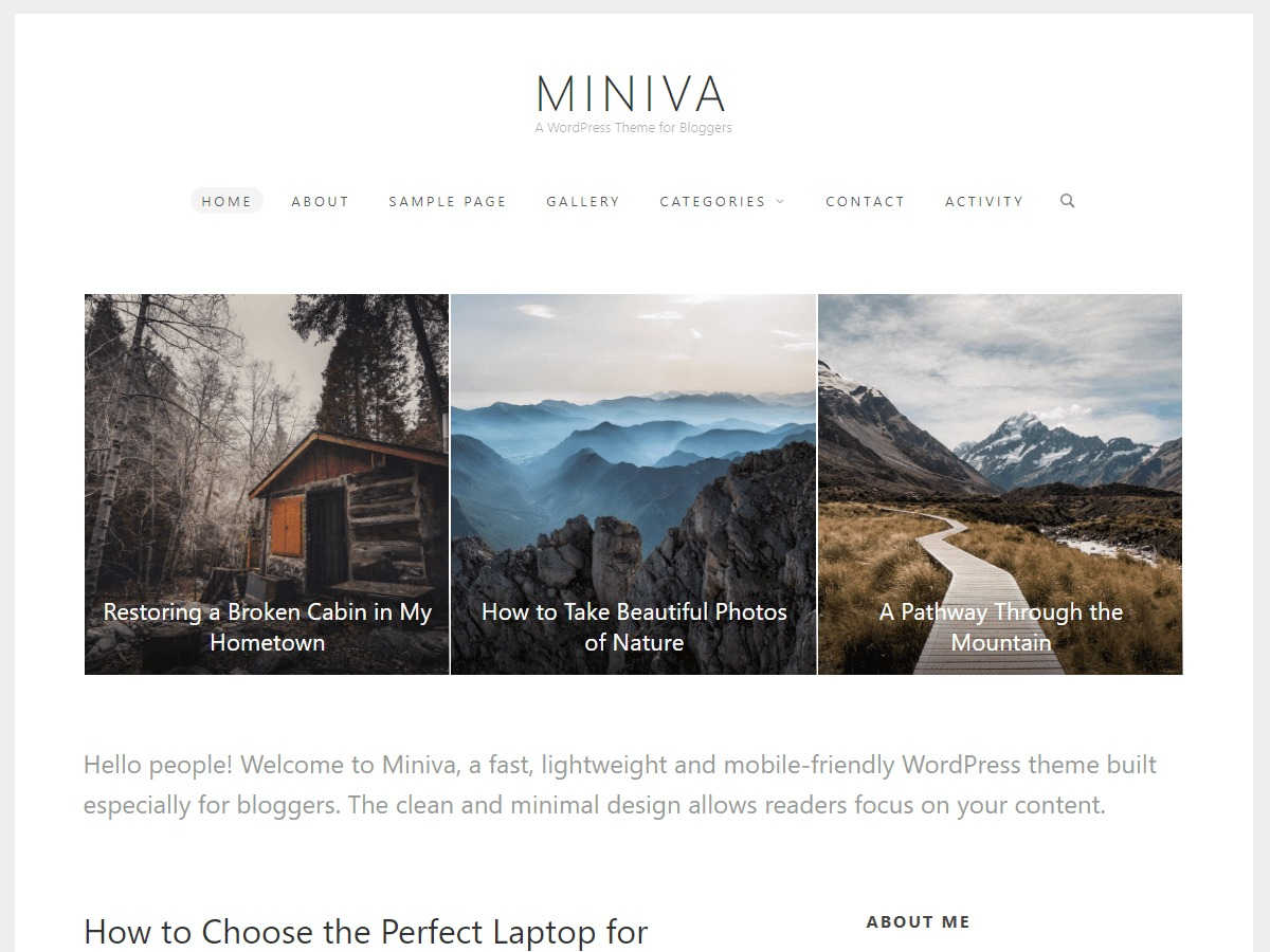 Miniva WordPress blog template