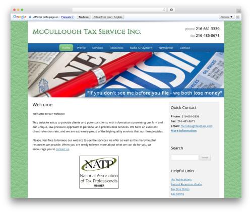 Customized WordPress theme - mcculloughtax.com