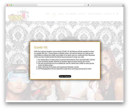iParty best free WordPress theme - mymemorybooth.com