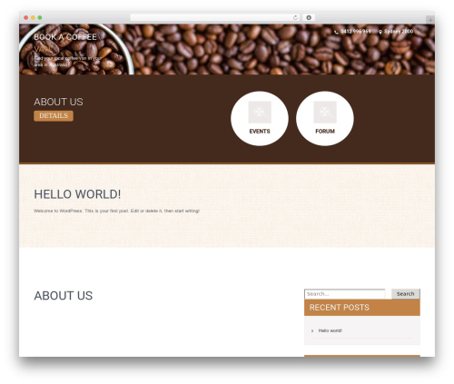 SKT Coffee premium WordPress theme - bookacoffeevan.com