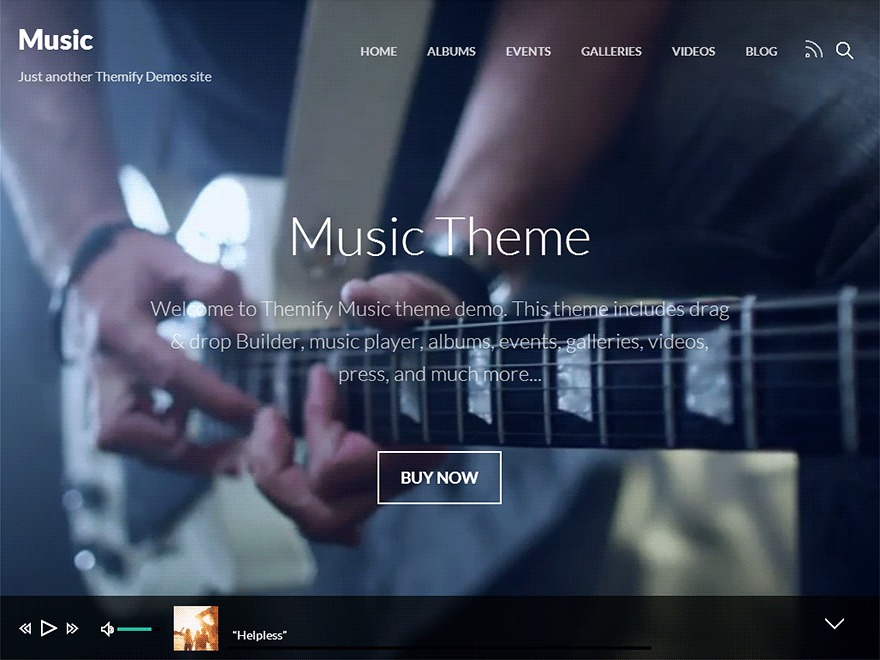 WordPress website template Themify Music Child