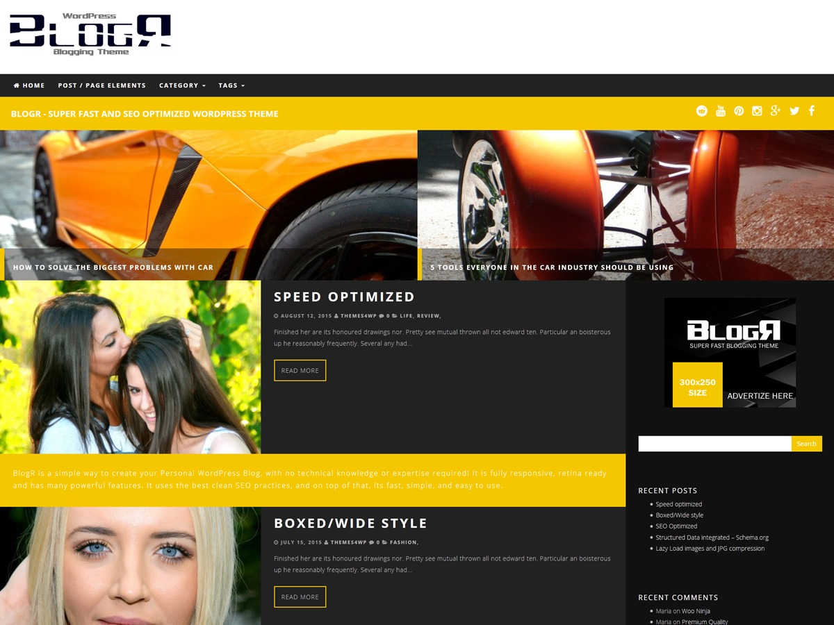BlogR theme WordPress free
