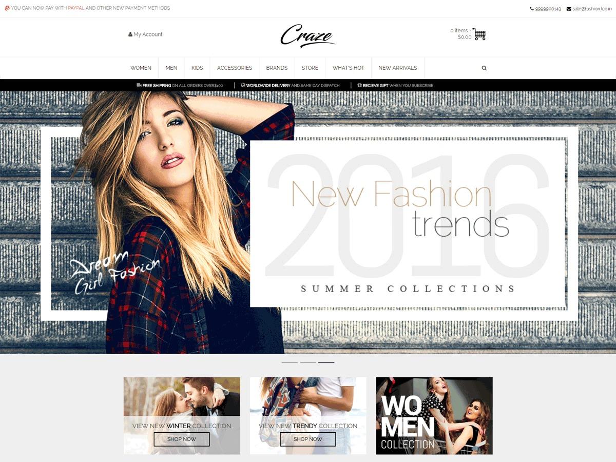 Craze WordPress store theme