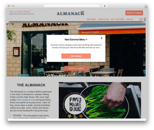 Peach Pubs WordPress restaurant theme - thealmanack-kenilworth.co.uk