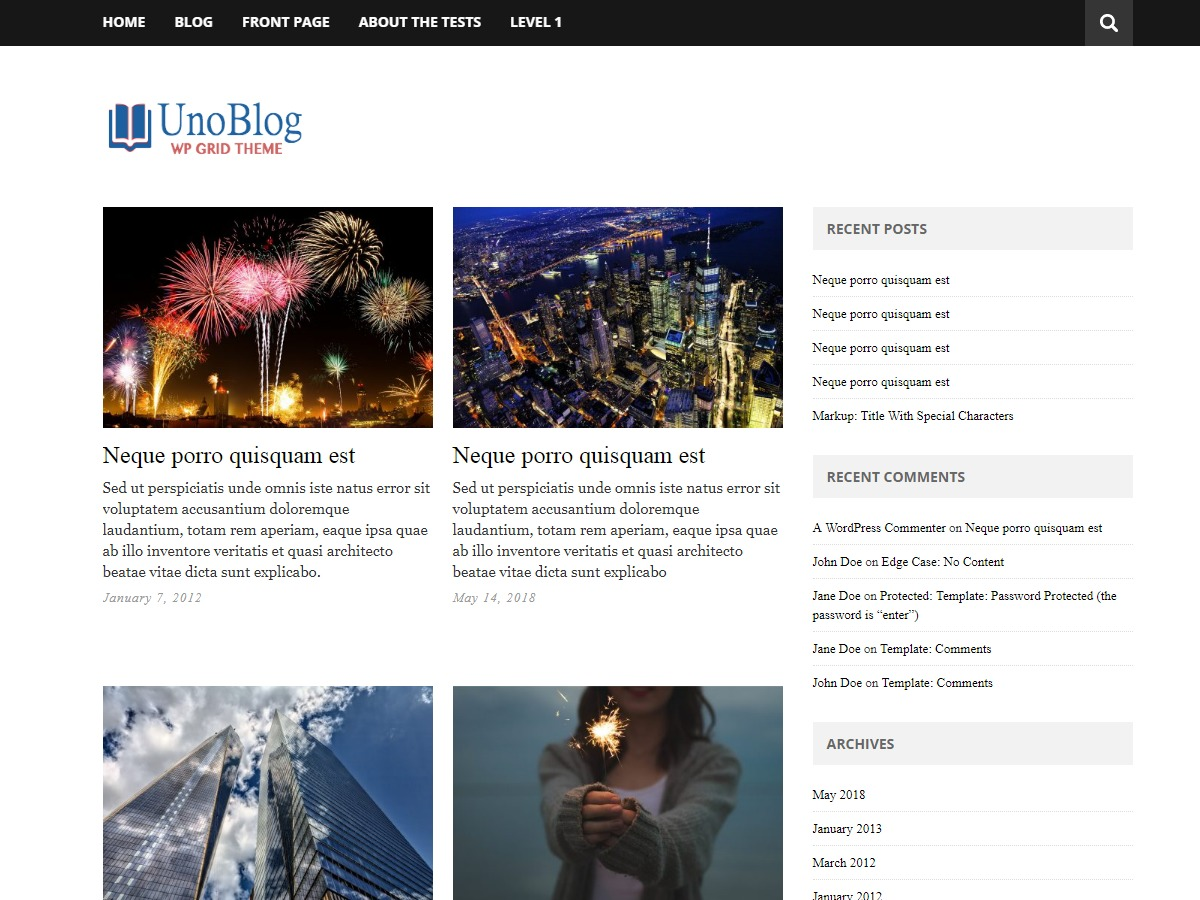 UnoBlog Lite WordPress blog template