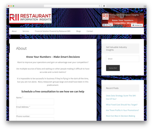 Generate Pro WordPress restaurant theme - riinsights.com