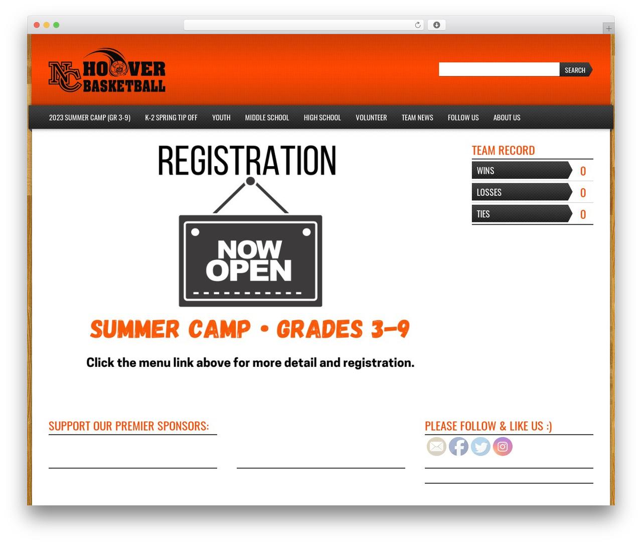 Sports Team Theme WordPress website template - hoovervikingsbasketball.com