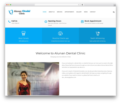 Dental Care business WordPress theme - alunandentalclinic.com