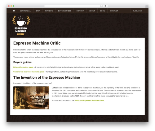Codilight template WordPress - espressomachinecritic.com