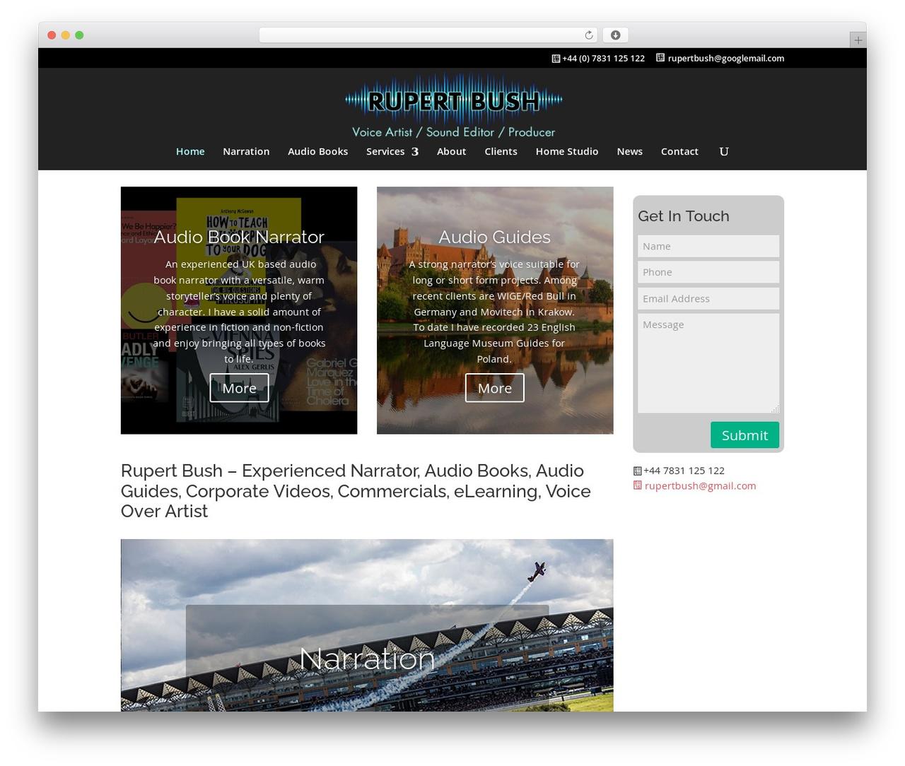 Divi WordPress theme design - rupertbush.com