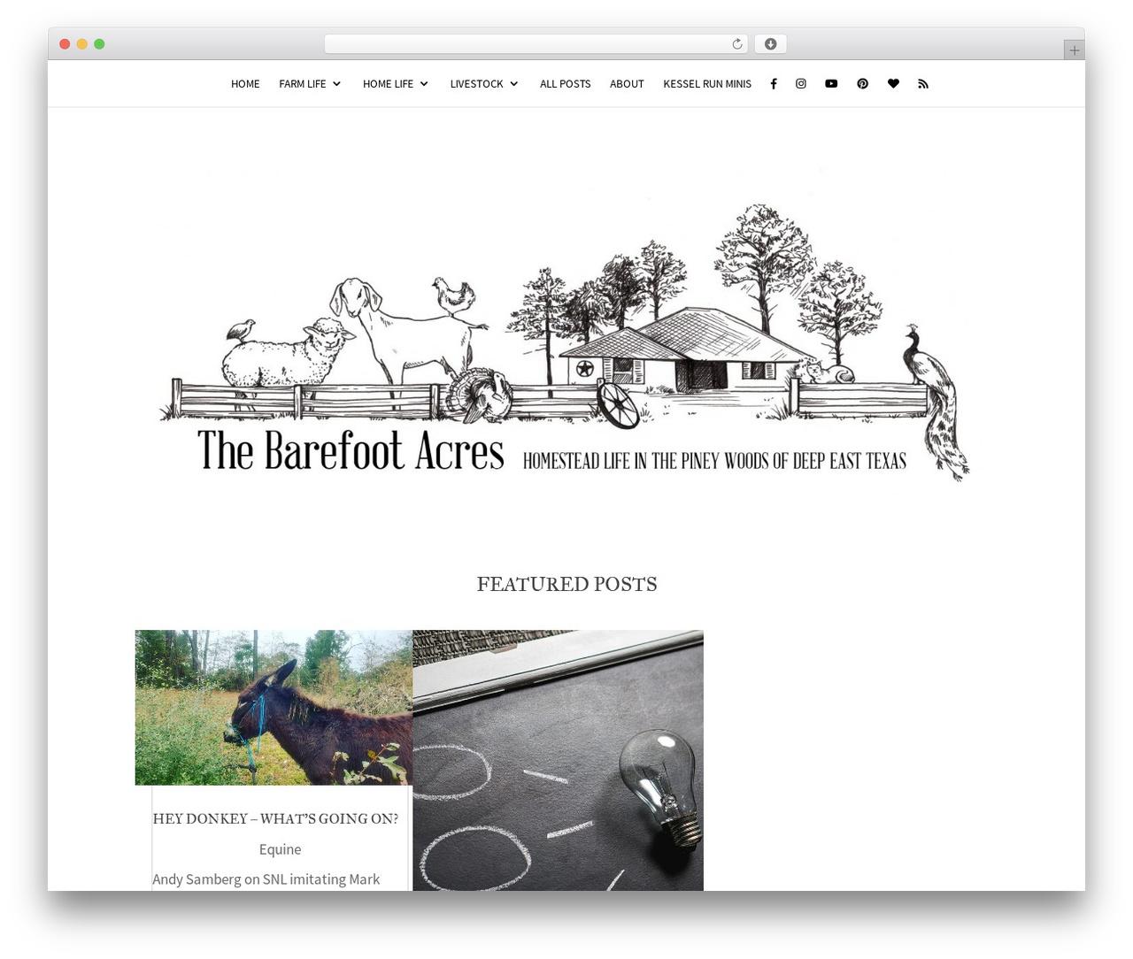 Template WordPress Divi - thebarefootacres.com