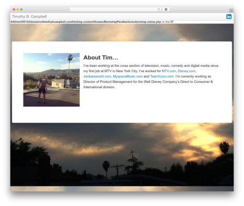 Bootstrap Parallax top WordPress theme - timothybcampbell.com