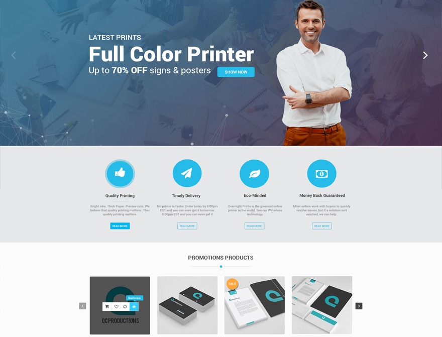 Print Cards WordPress ecommerce template