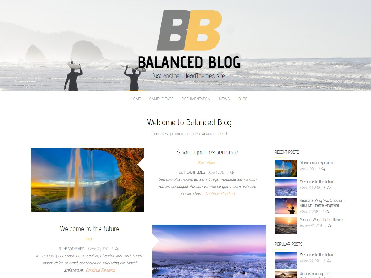 Balanced Blog WordPress blog template