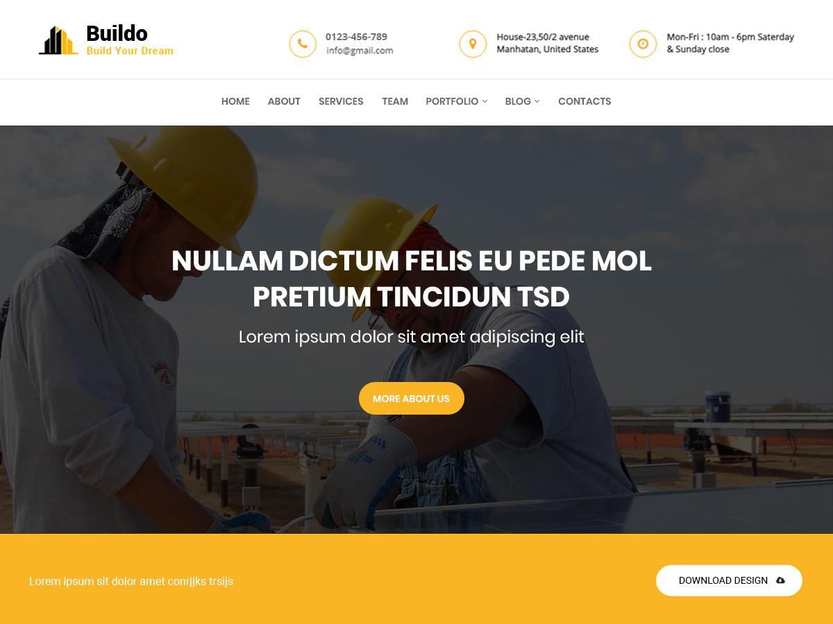 Buildo WordPress theme design